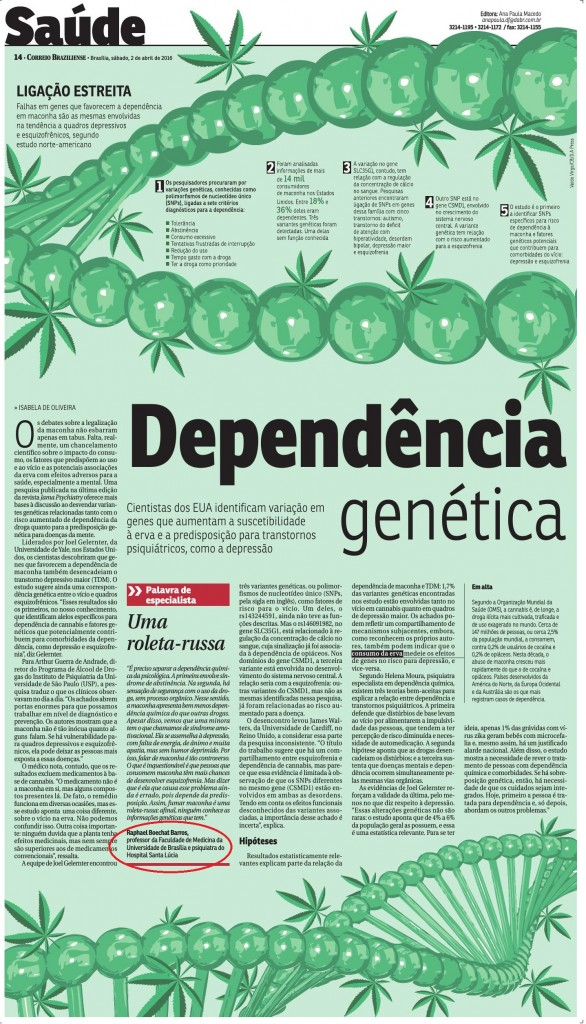 Correio Braziliense - Dependência Genética - Dr. Raphael Boeacht - HSL - 02-04-2016