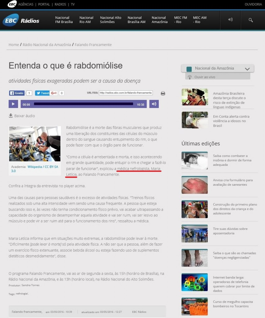 Rádio Nacional Amazônia - Dra. Maria Letícia - 02-05-2016