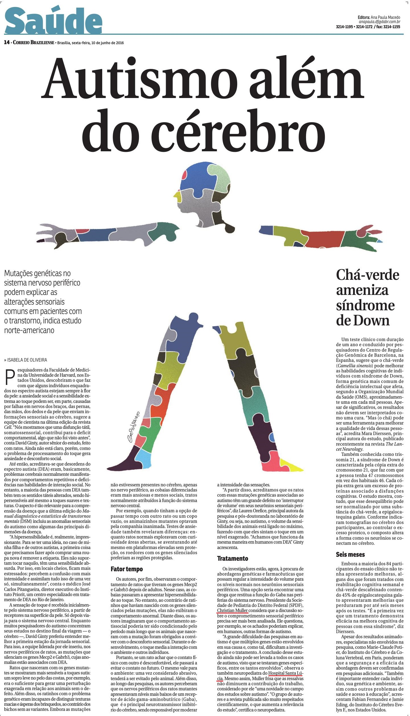 Correio Braziliense - Autismo além do cérebro - HSL - 10-06-2016