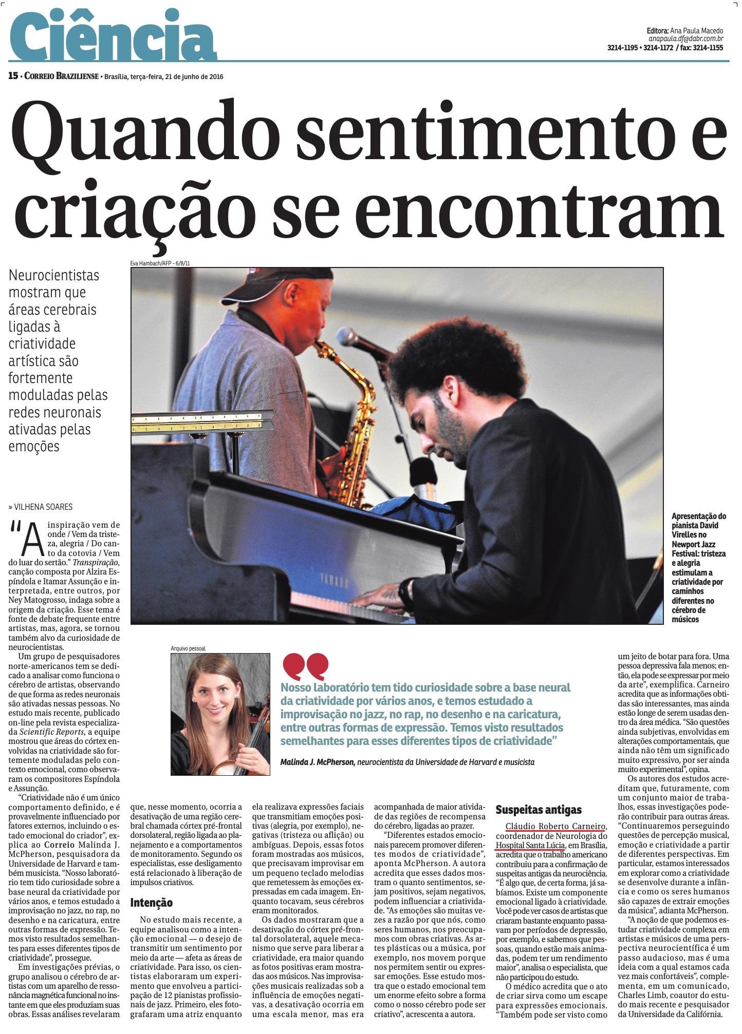 Correio Braziliense - Ciência Neurologia - HSL - 21-06-2016