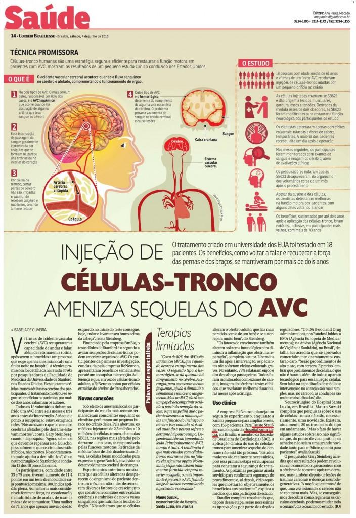 Correio Braziliense - Injeção de células-tronco ameniza sequelas do AVC - 05-06-2016
