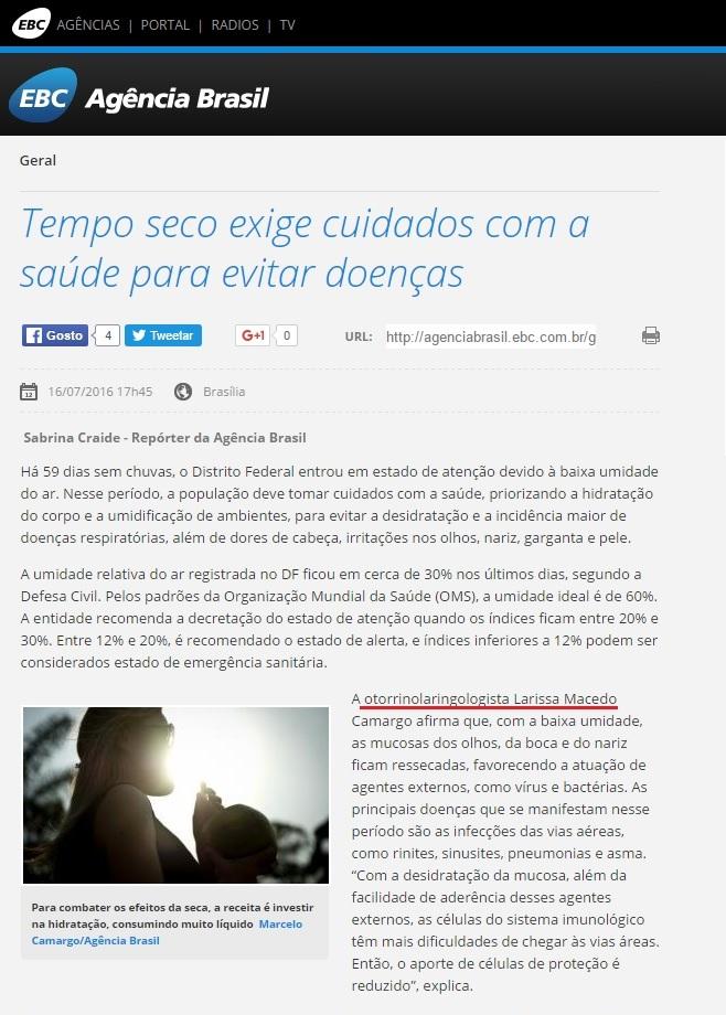 Agência Brasil - Dra. Larissa Camargo - CEOL - 18-07-2016