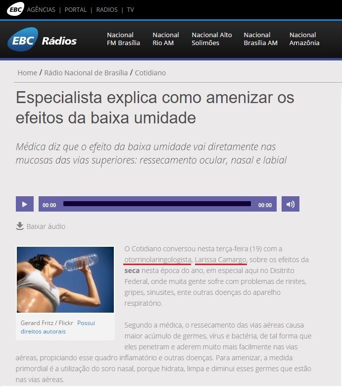 Rádio Nacional Brasília EBC - Dra. Larissa Camargo - 19-07-2016
