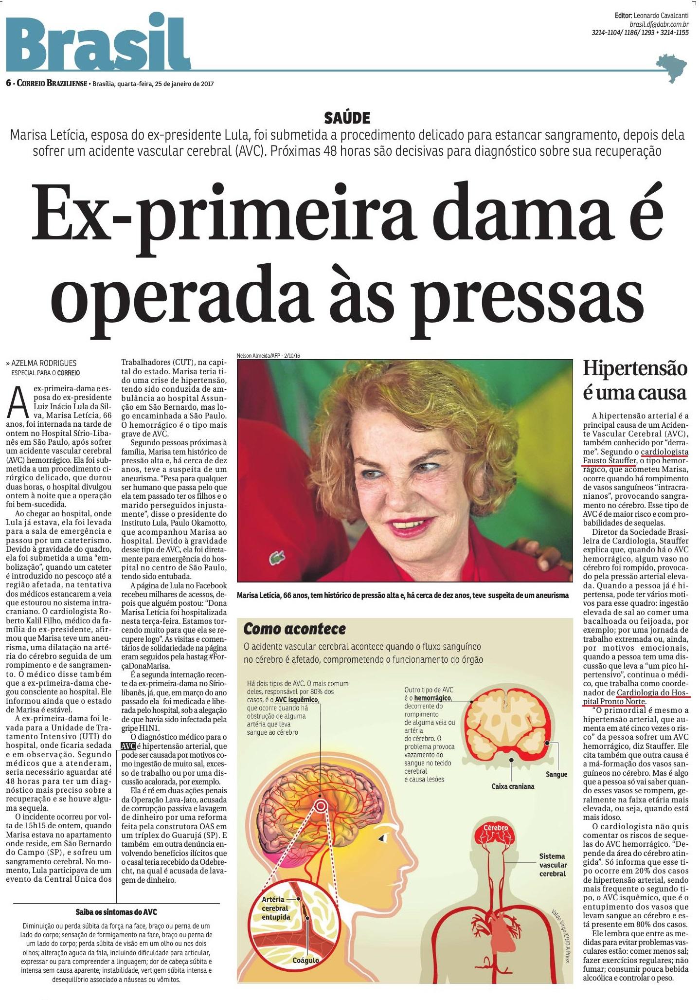 Correio Braziliense - Dr. Fausto Stauffer HPN - 25-01-2017