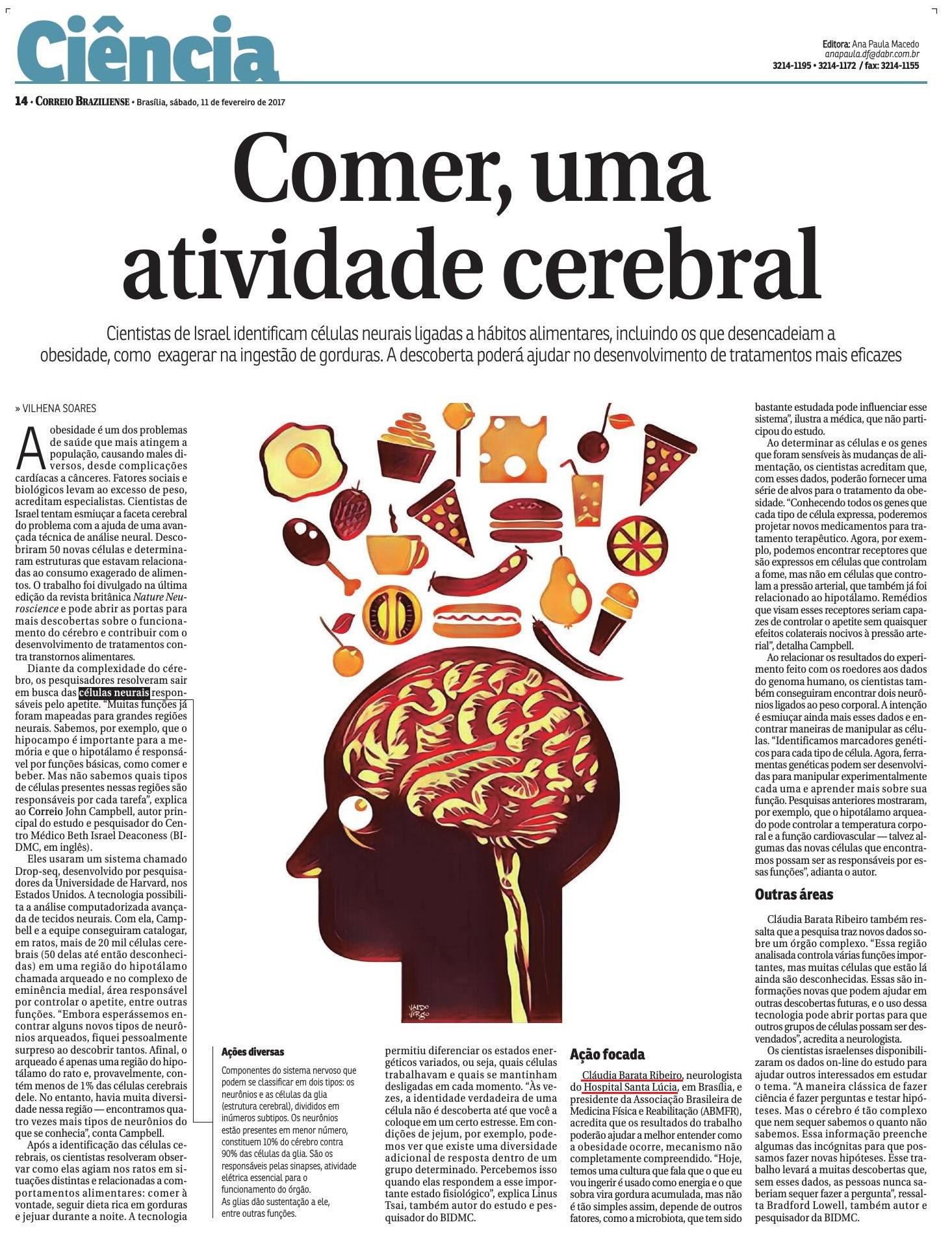 Correio Braziliense - Dra. Cláudia Barata HSL - 11-02-2017