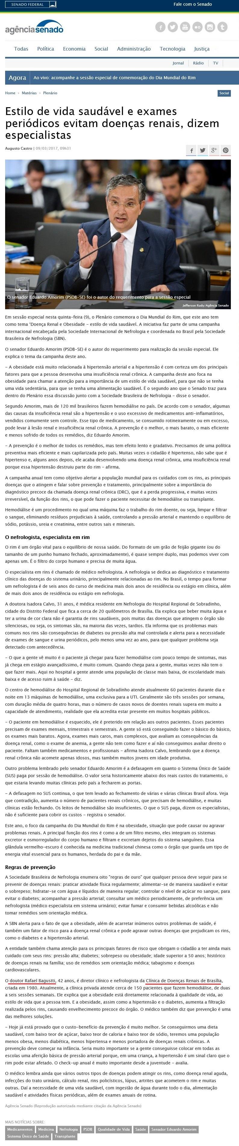 Agência Senado Federal - Dr. Rafael Bagustti CDRB - 09-03-2017