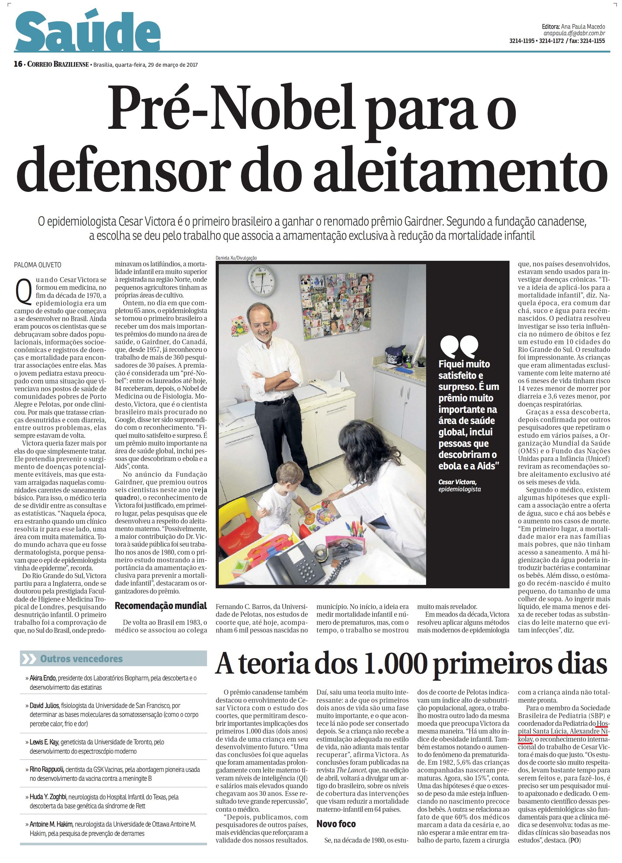 Correio Braziliense - Dr. Alexandre Nikolay HSL - 29-03-2017