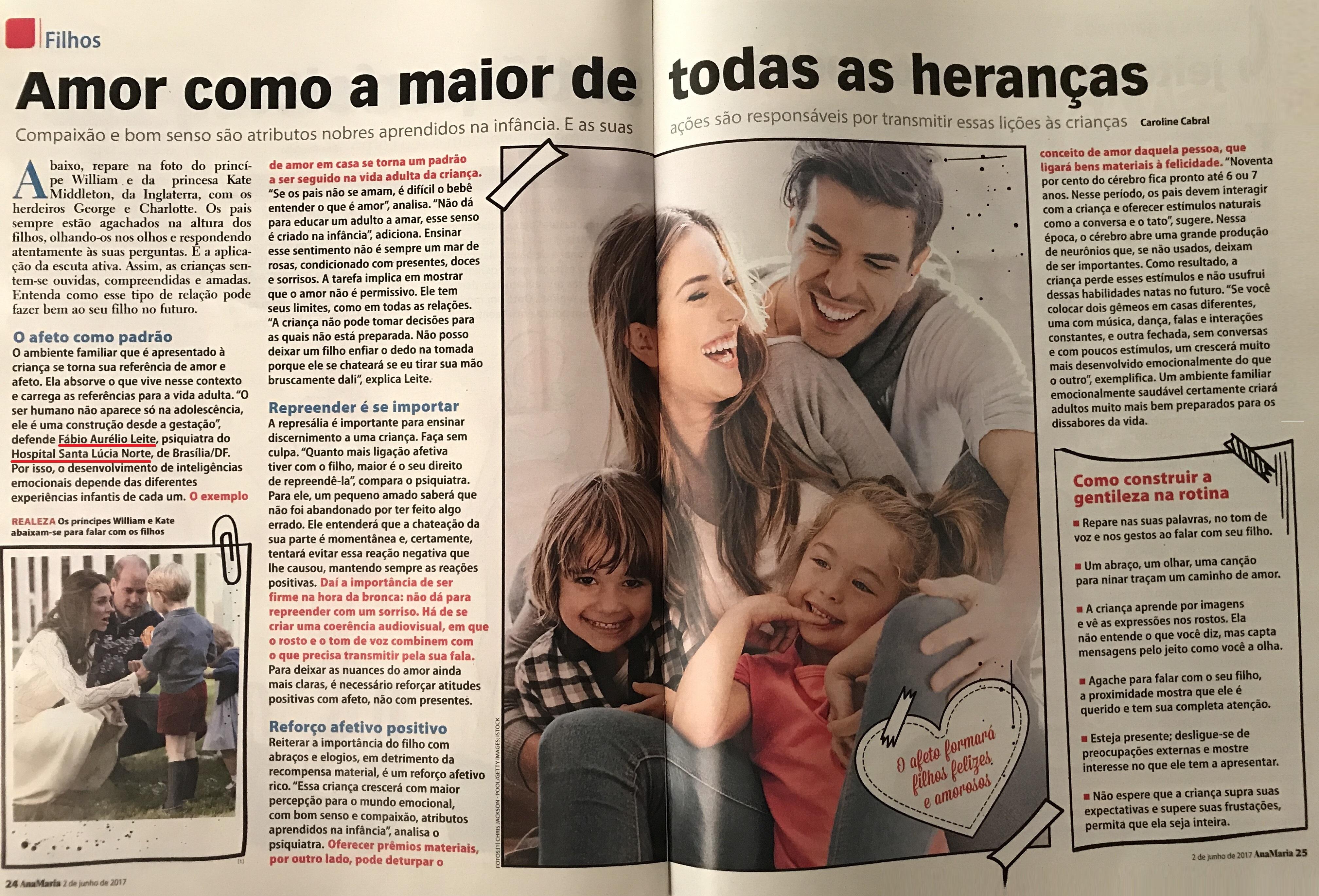 Revista Ana Maria (Página 1 e 2) - Dr. Fábio Aurélio Leite HSLN - Junho de 2017