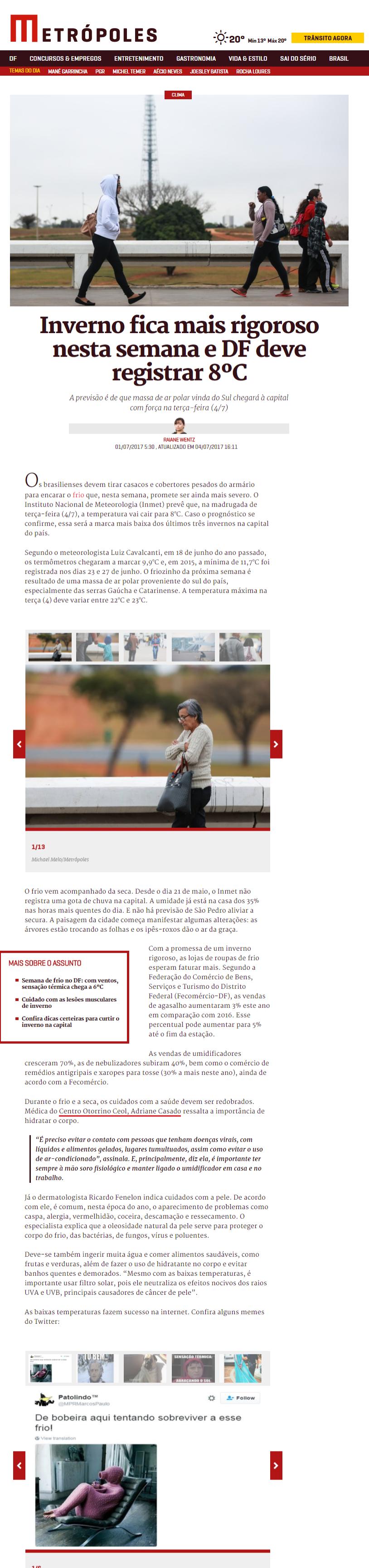 Metrópoles - Dra. Adriane Medeiros Casado - 04-07-2017