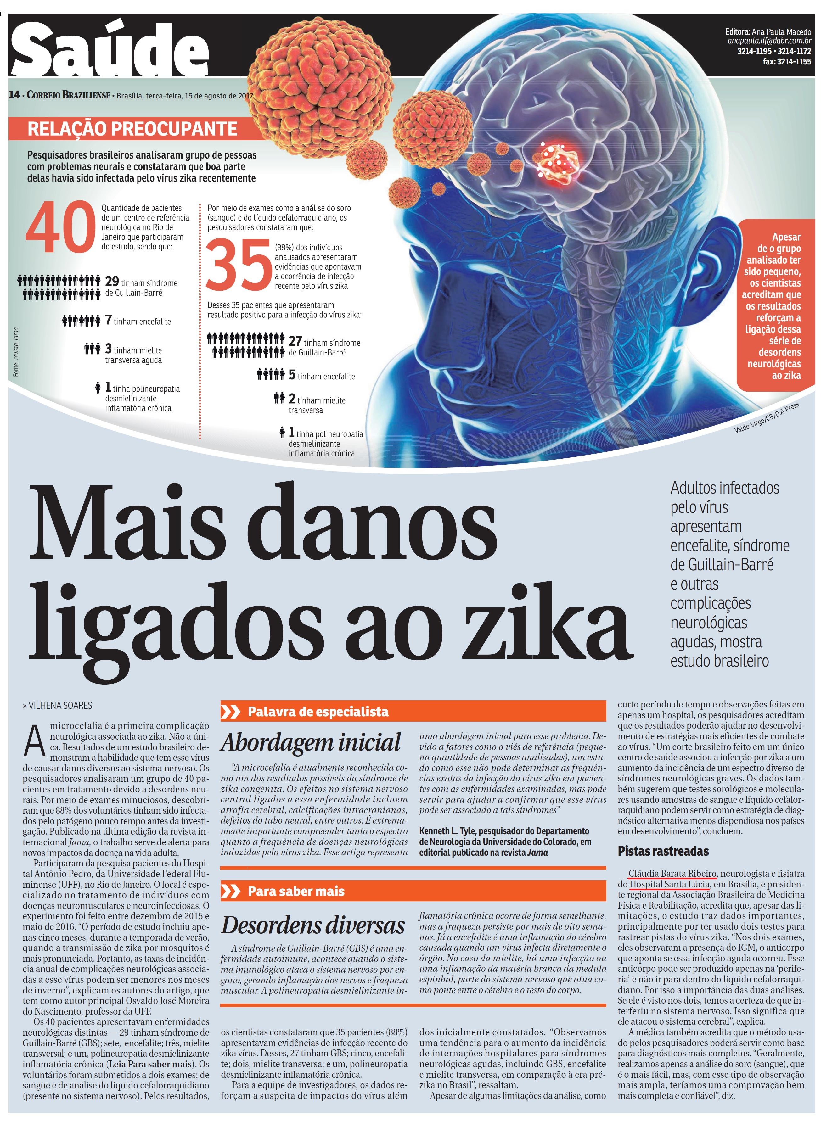 Correio Braziliense - Dra. Cláudia Barata Ribeiro HSL - 15-08-2017