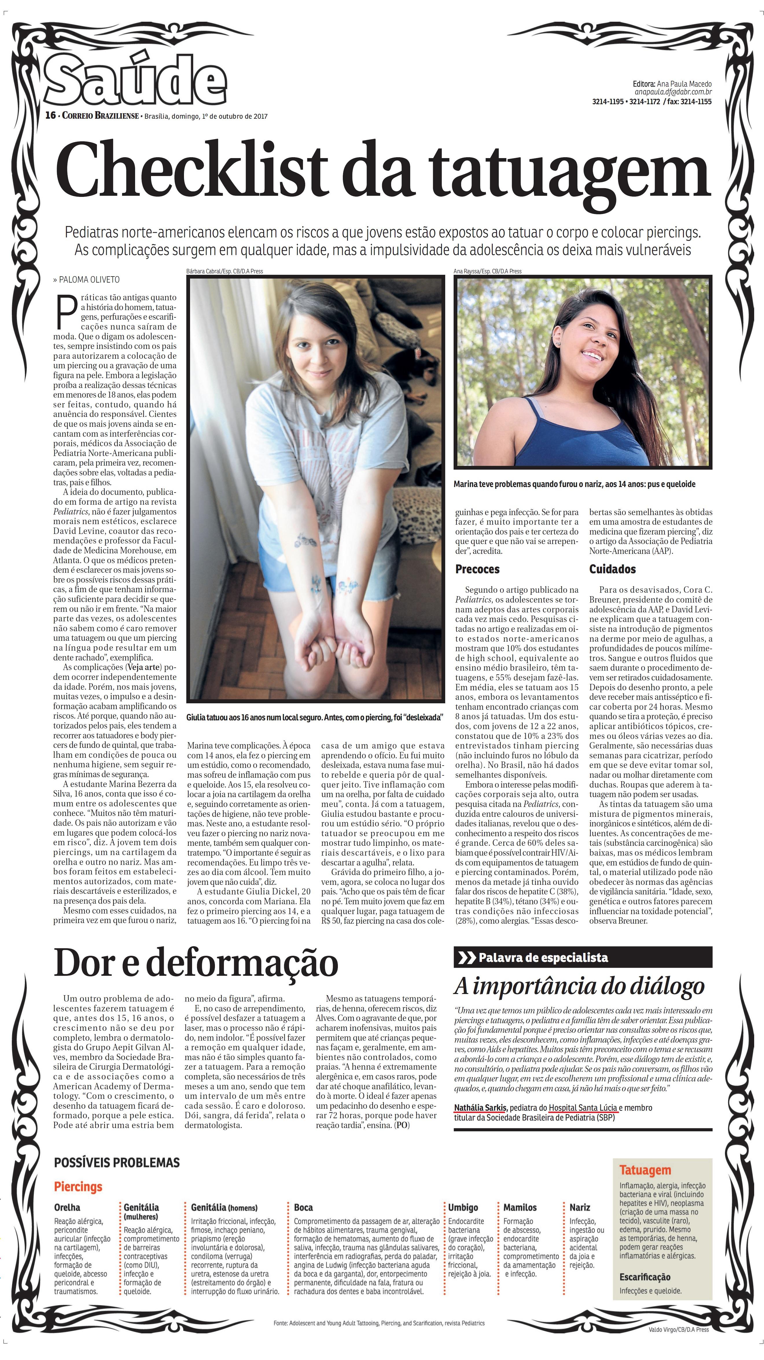 Correio Braziliense - Dra. Nathália Sarkis HSL - 02-10-2017
