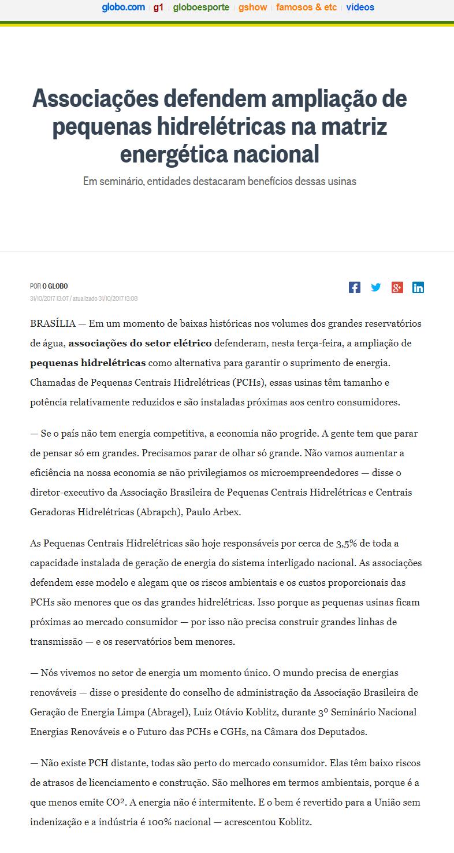 O Globo - ABRAGEL - 01-11-2017