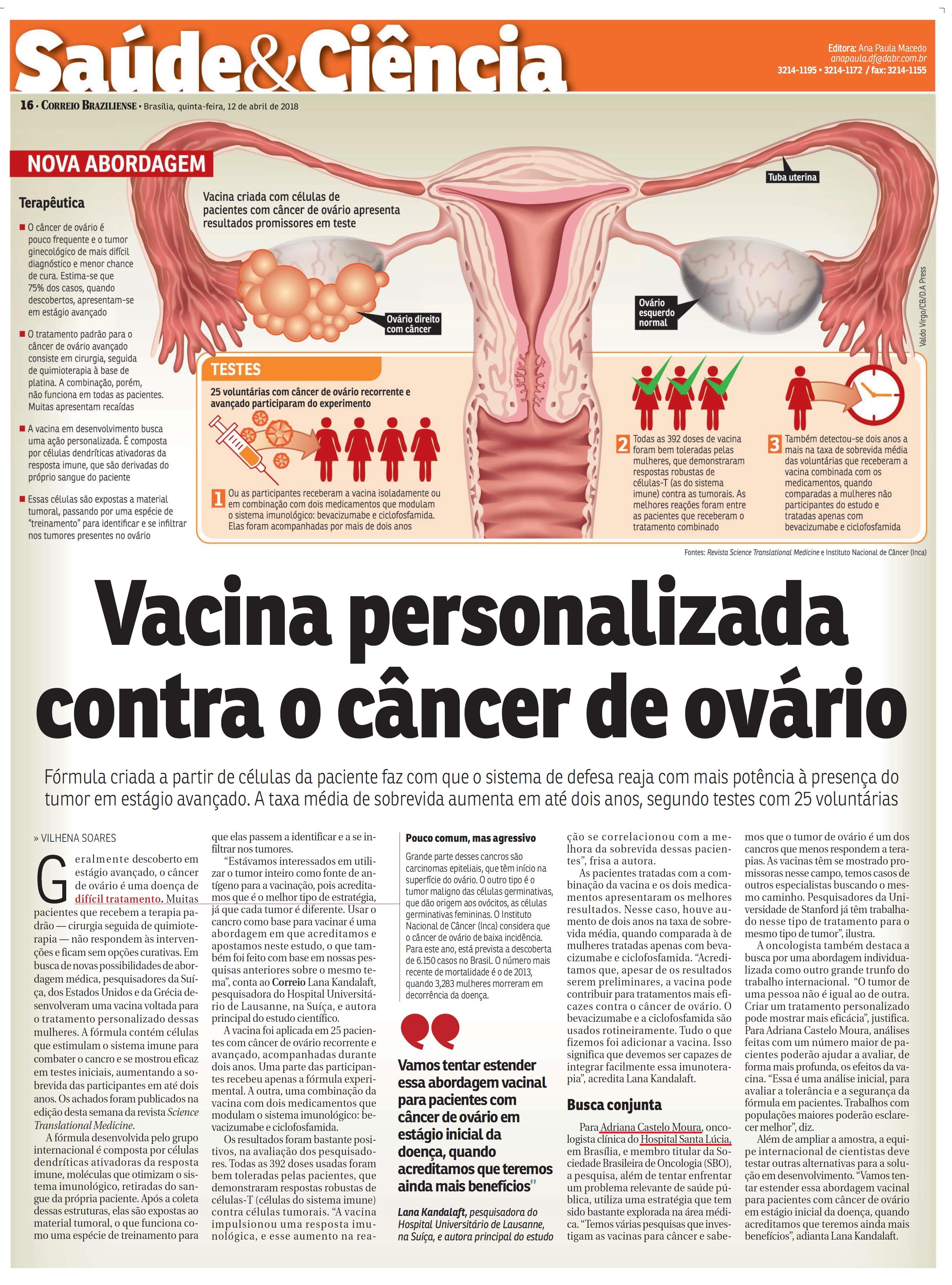 Correio Braziliense - Dra. Adriana Castelo Moura HSLS - 12 de abril de 2018