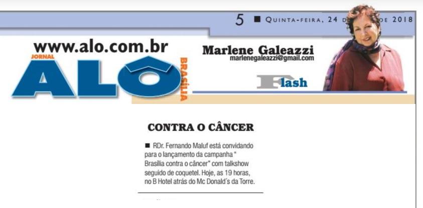 Alô Brasília - Marlene Galeazzi - Dr. Fernando Maluf HSLS - 25-05-2018