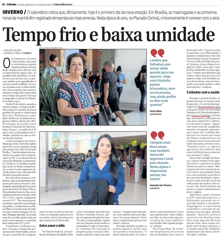 Correio Braziliense - Dra. Larissa Camargo HSLS - 21-06-2018