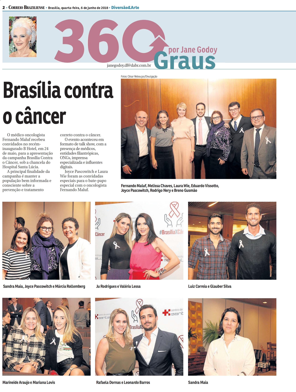 Correio Braziliense - Jane Godoy - Centro de Oncologia Santa Lúcia - 06-06-2018