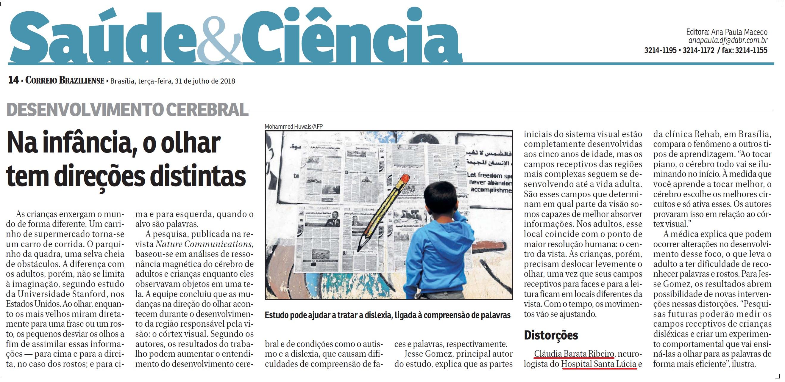 Correio Braziliense - Dra. Cláudia Barata Ribeiro HSLS - 31-07-2018