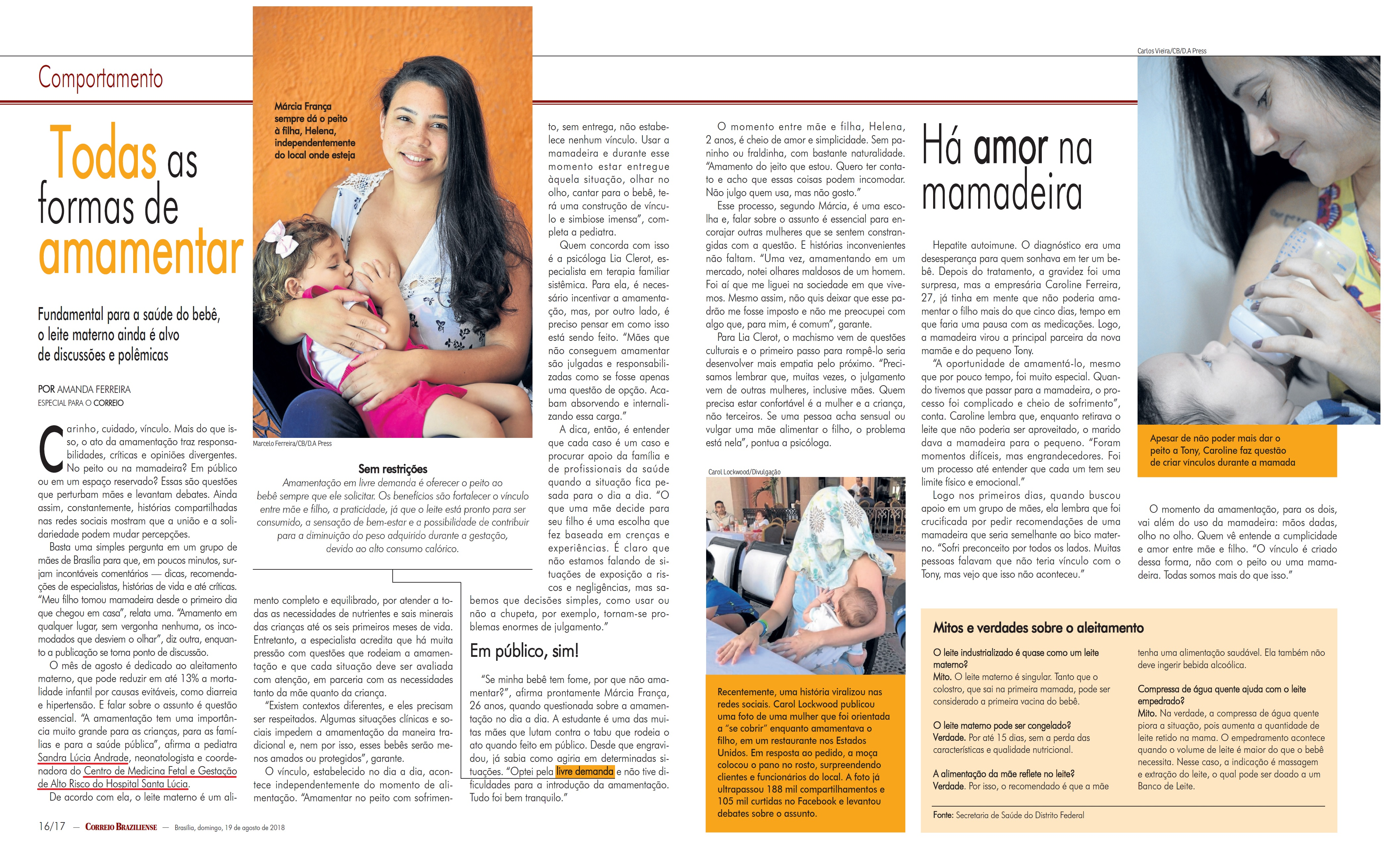 Revista do Correio - Dra. Sandra Lúcia Andrade HSLS - 19-08-2018