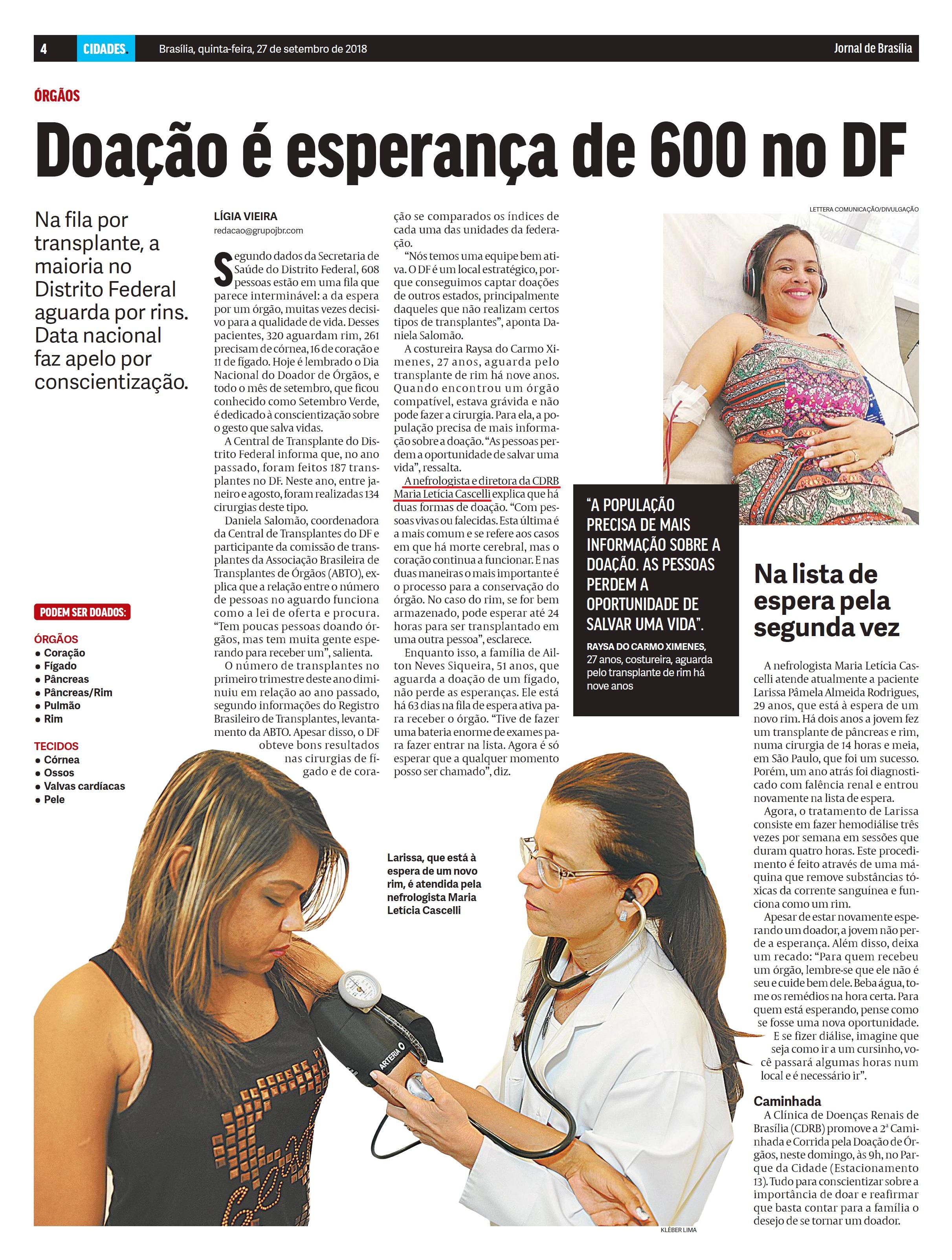 Jornal de Brasília - Dra. Maria Letícia Cascelli CDRB - 27-09-2018