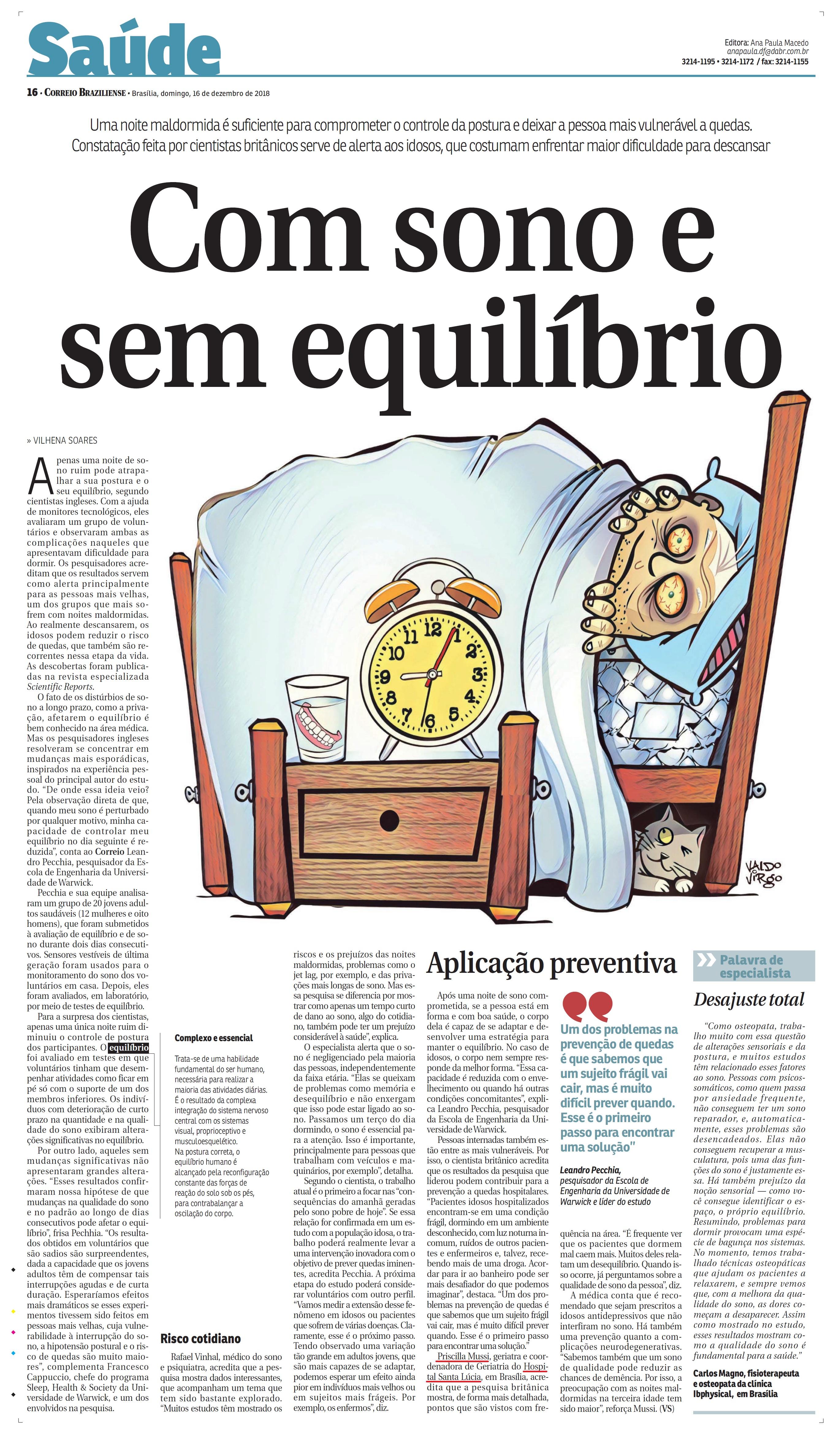 Correio Braziliense - Dra. Priscilla Mussi HSLS - 16-12-2018