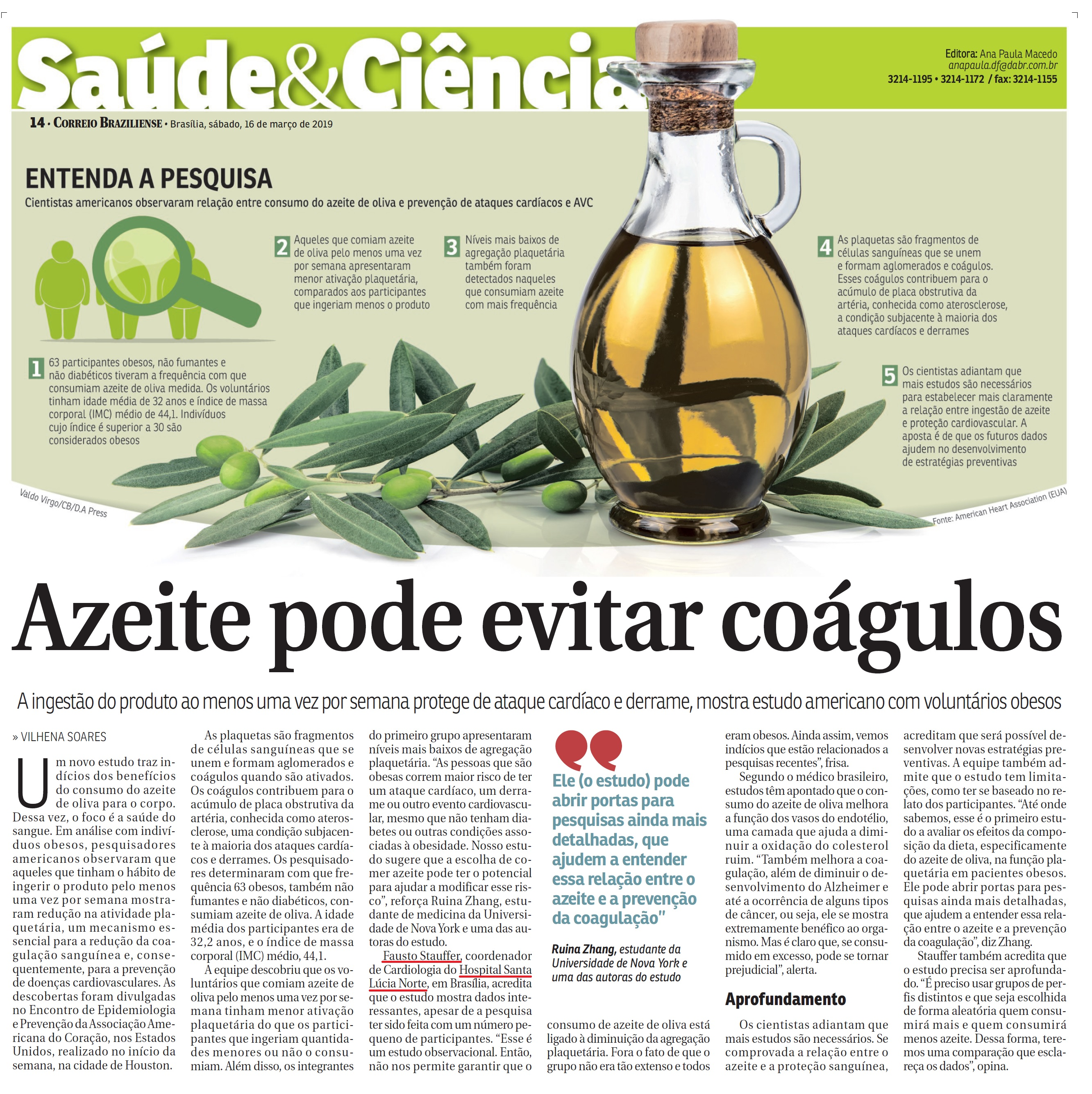 Correio Braziliense - Dr. Fausto Stauffer HSLN - 16-03-2019