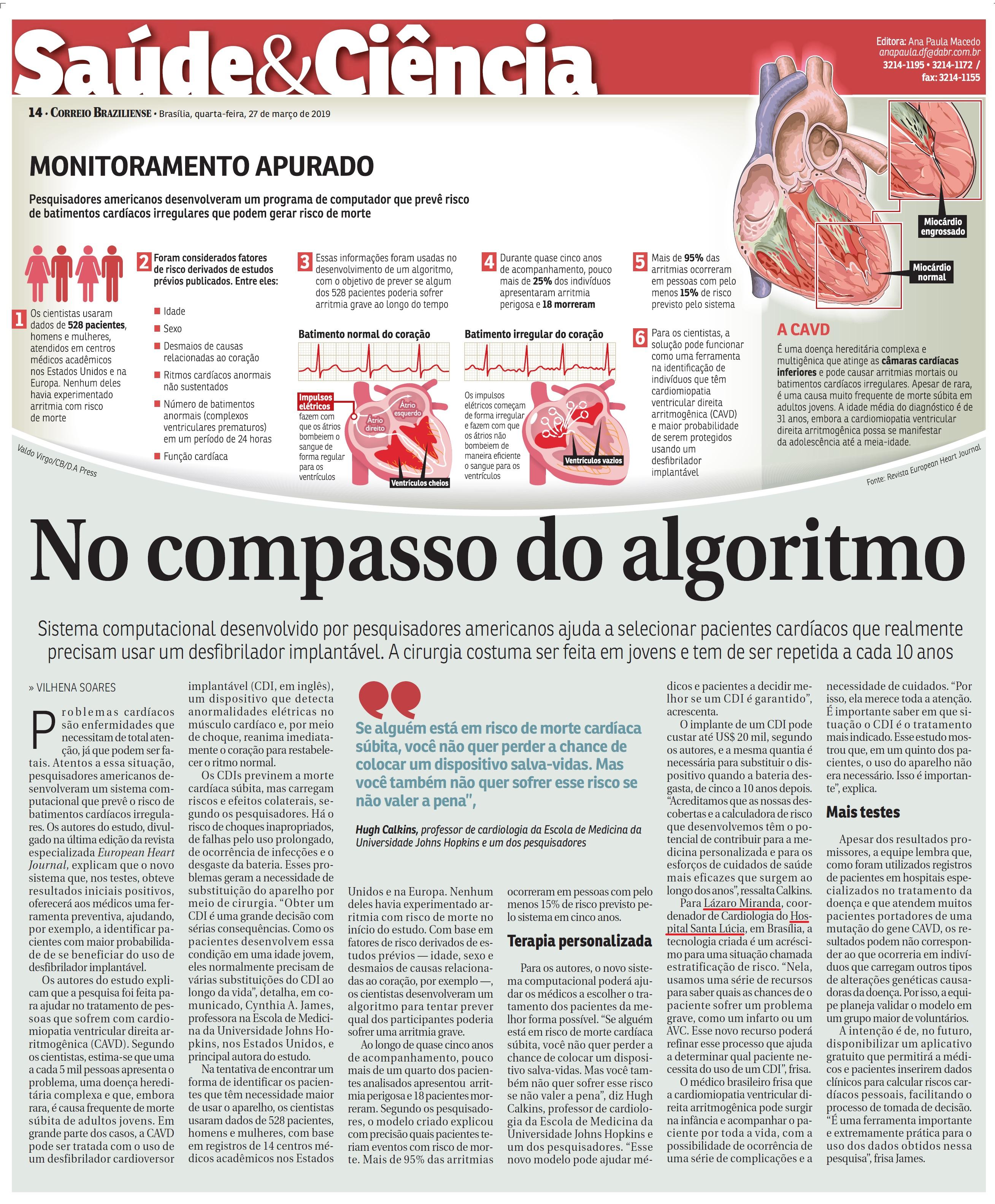 Correio Braziliense - Dr. Lázaro Fernandes de Miranda HSLS - 27-03-2019