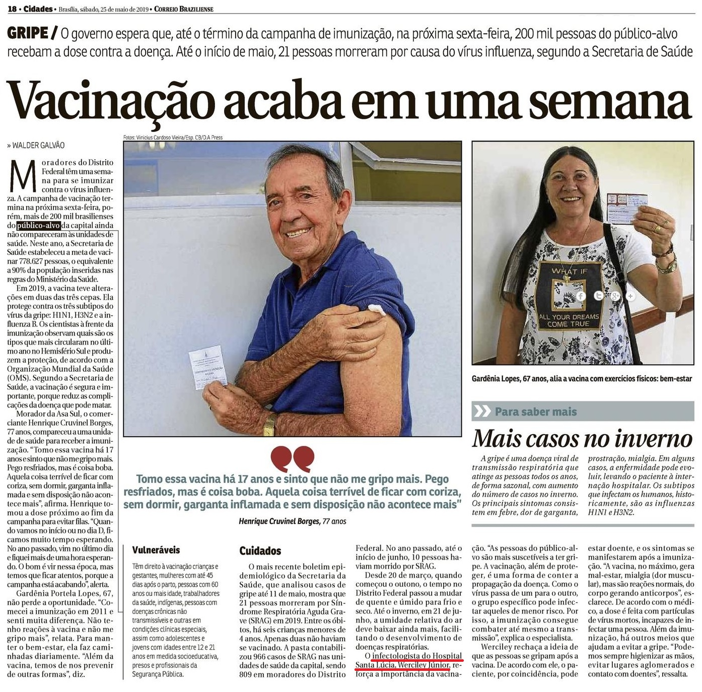 Correio Braziliense - Dr. Werciley Júnior HSLS - 27-05-2019