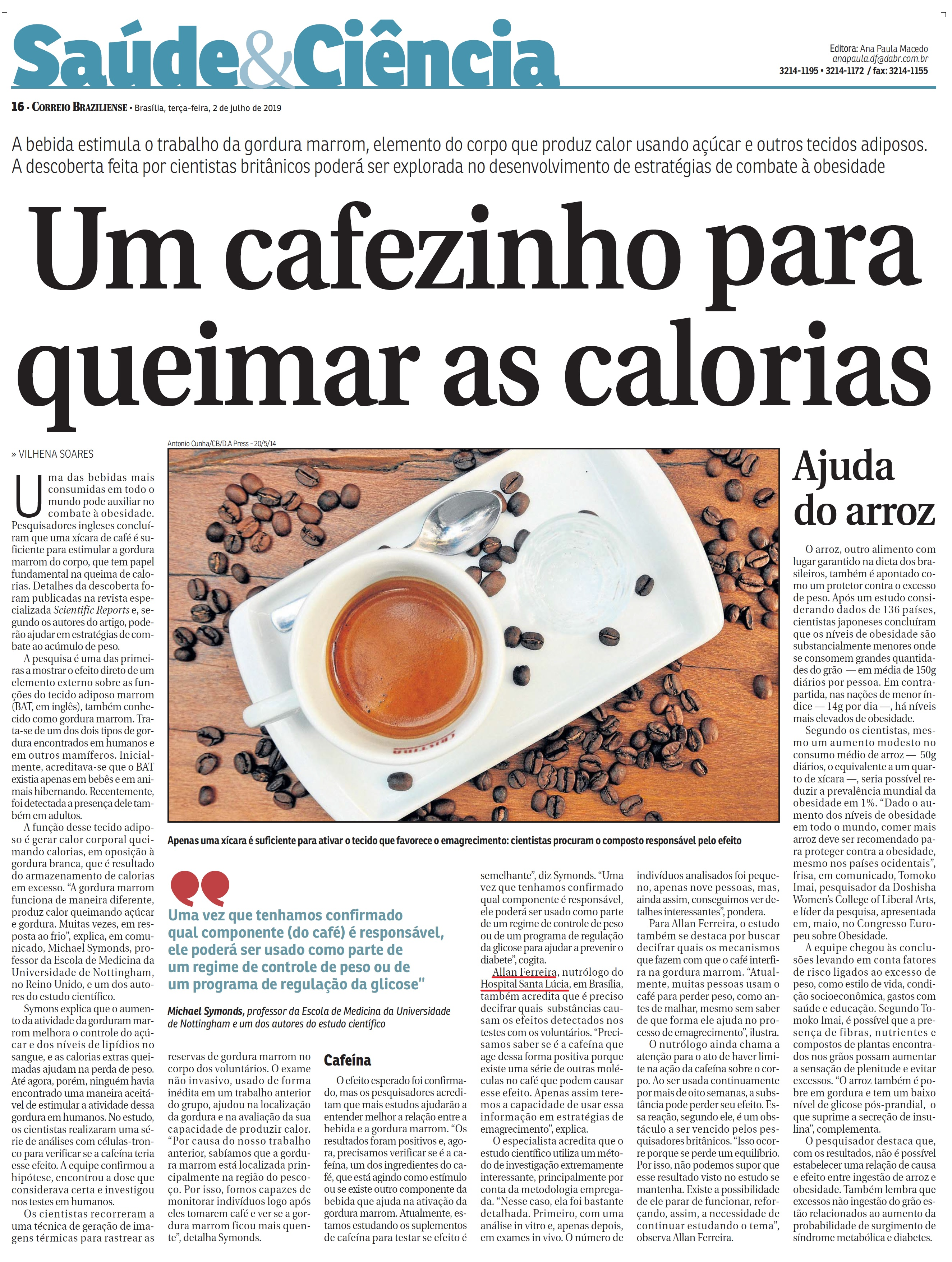 Correio Braziliense - Dr. Allan Ferreira HSLS - 03-07-2019