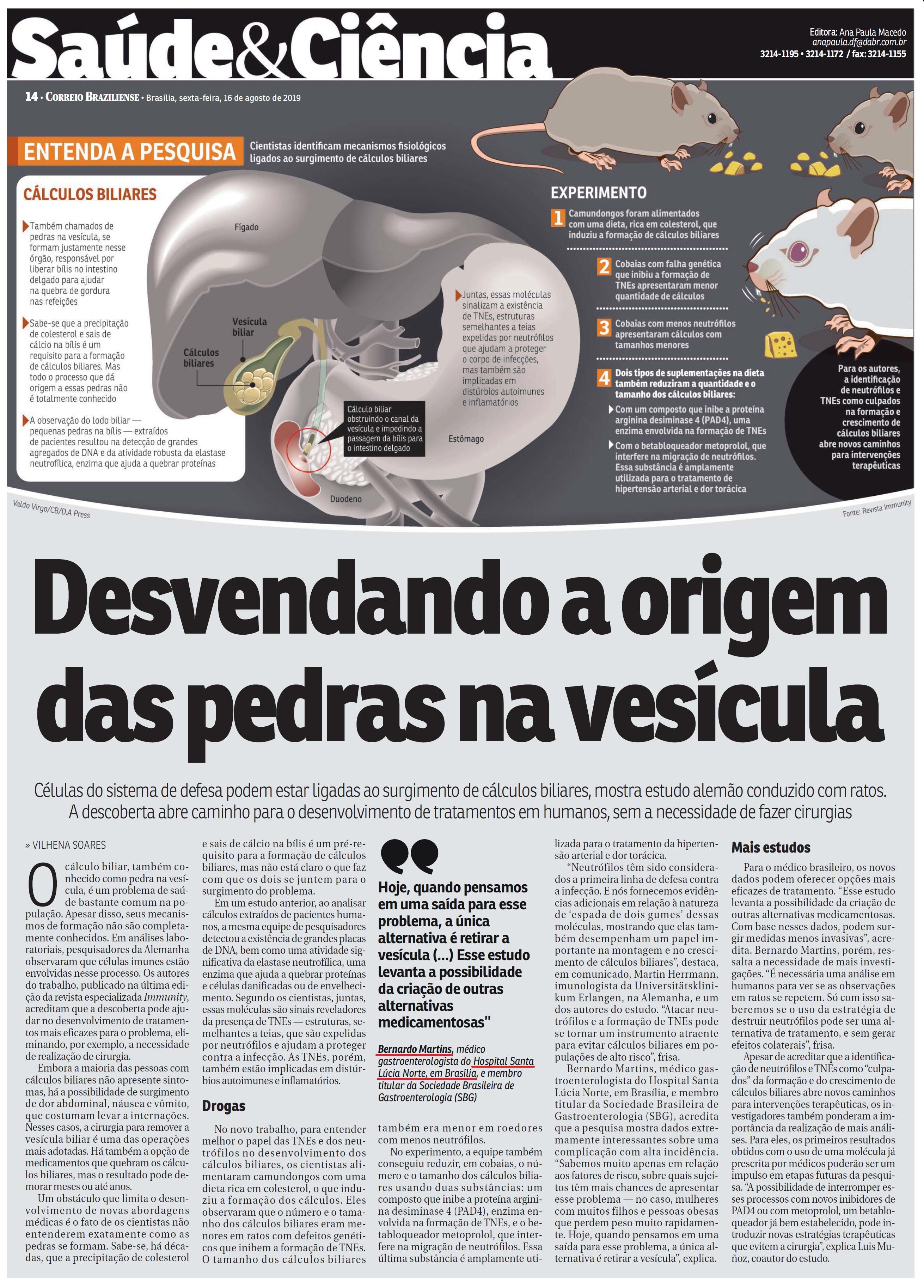 Correio Braziliense - Dr. Bernardo Martins HSLN - 16-08-2019