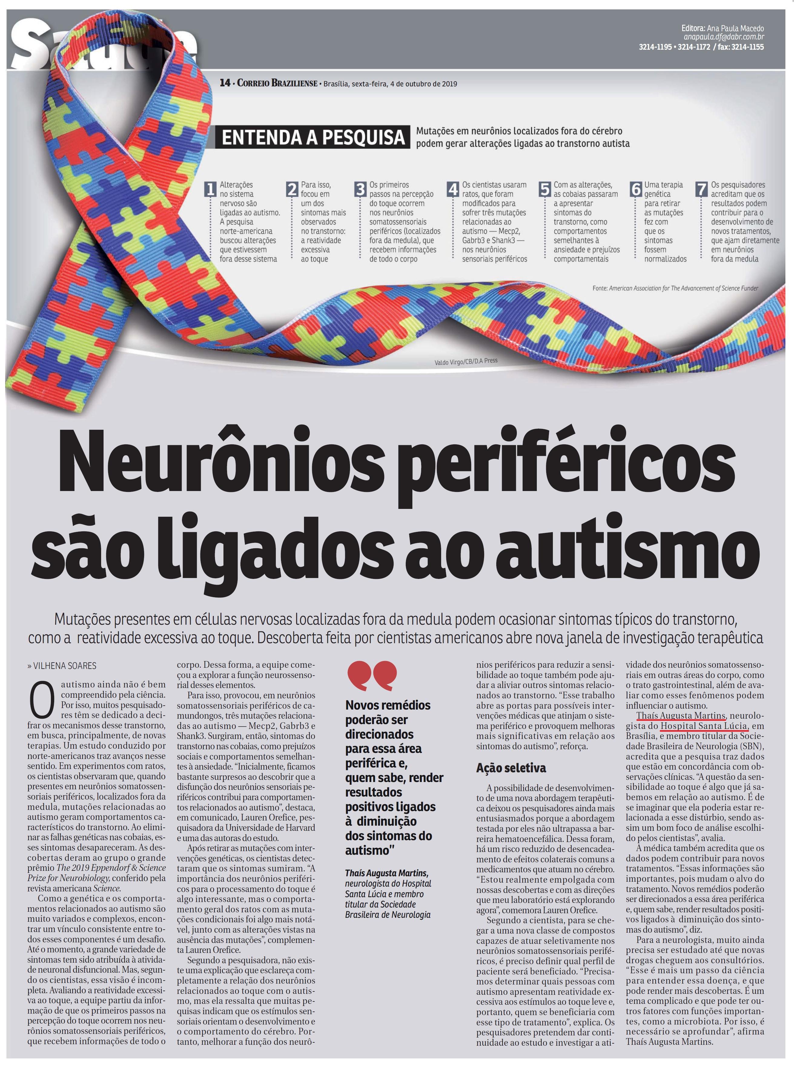 Correio Braziliense - Dra. Thaís Augusta Martins HSLS - 04-10-2019